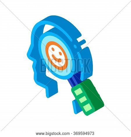Optimistic Way Of Thinking Biohacking Icon Vector Isometric Sign. Color Isolated Symbol Illustration