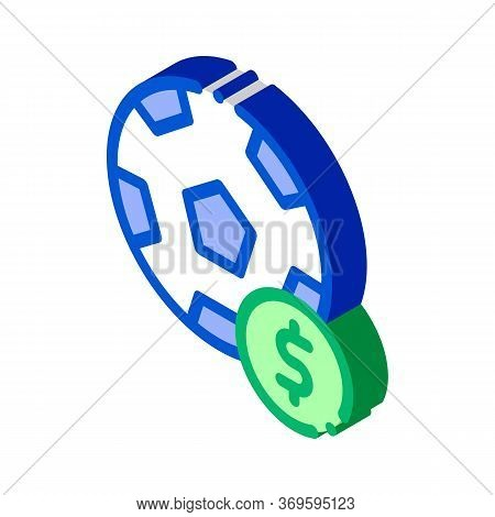 Soccer Ball Betting And Gambling Icon Vector Isometric Sign. Color Isolated Symbol Illustration