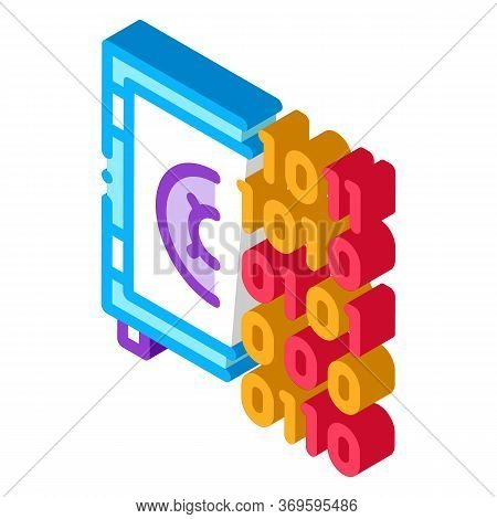 Computer Hacking With Binary Code Icon Vector. Isometric Computer Hacking With Binary Code Sign. Col