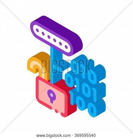 Hacking Binary Code Icon Vector. Isometric Hacking Binary Code Sign. Color Isolated Symbol Illustrat