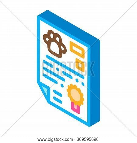 Official Animal Passport Icon Vector. Isometric Official Animal Passport Sign. Color Isolated Symbol