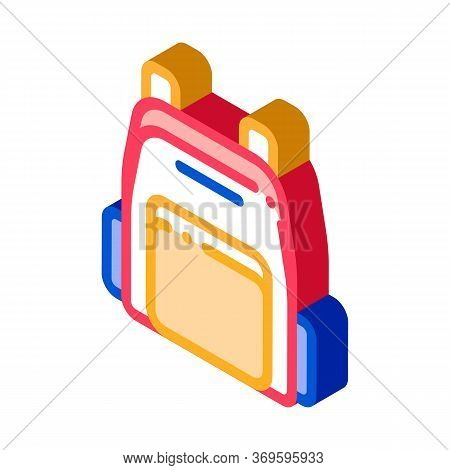 Rucksack Icon Vector. Isometric Rucksack Sign. Color Isolated Symbol Illustration