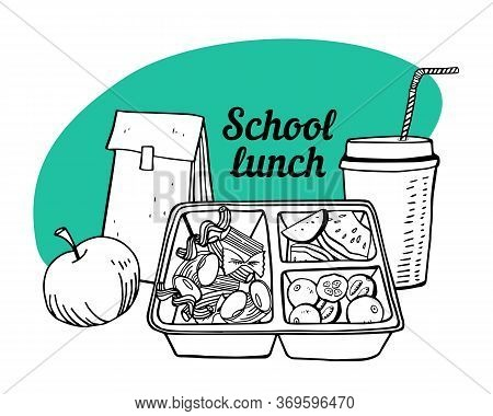 School Lunch Composition. Container With Food, Paper Bag, Apple And Drink. Outline Vector Sketch Ill