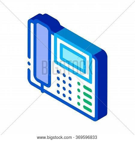 Home Telephone Icon Vector. Isometric Home Telephone Sign. Color Isolated Symbol Illustration
