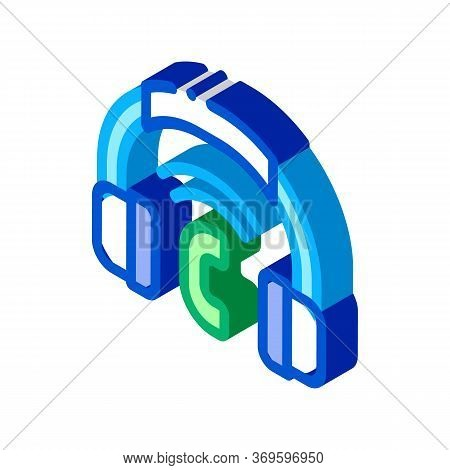 Voip System Headphones Icon Vector. Isometric Voip System Headphones Sign. Color Isolated Symbol Ill