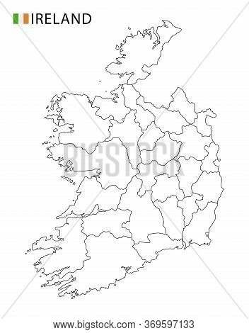 Ireland Map, Black And White Detailed Outline Regions Of The Country.