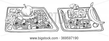 Set Of Two Filled Food Trays With Dinner. Pasta, Cabbage And Fruits. Hand Drawn Outline Black And Wh