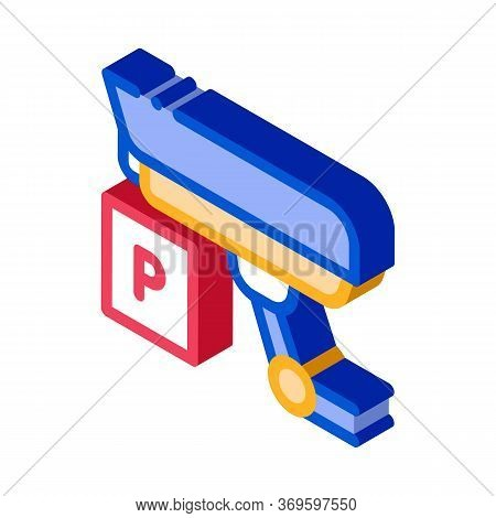 Parking Camcorder Icon Vector. Isometric Parking Camcorder Sign. Color Isolated Symbol Illustration