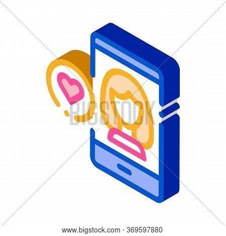 Like Female Avatar Icon Vector. Isometric Like Female Avatar Sign. Color Isolated Symbol Illustratio