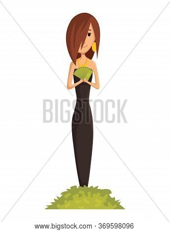 Vector Cartoon Rich People. Image Of A Funny Young Woman Capitalist In A Black Dress With A Bunch Of