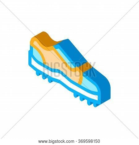 Sneakers For Cricket Icon Vector. Isometric Sneakers For Cricket Sign. Color Isolated Symbol Illustr