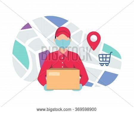 Courier Delivering Package Using Mask. Courier Deliver Packages Safely During A Pandemic. Home Deliv