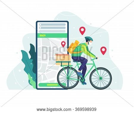 Delivery And Courier Service Concept. Courier Bicycle Delivery Man With Parcel Box On The Back. Deli