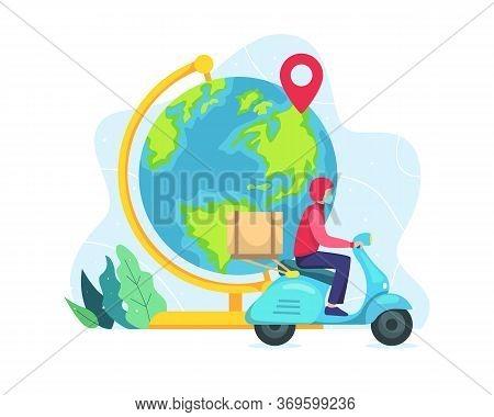 Vector Illustration World Wide Delivery Concept. Vector Illustration Of A World Globe, A Courier Wit