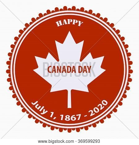 Maple Leaf - Red Round Icon - Vector. Happy Canada Independence Day