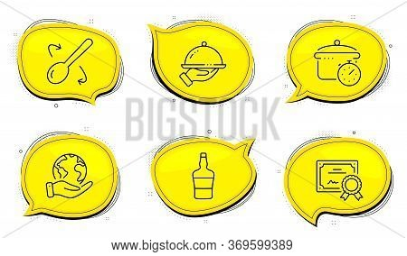 Boiling Pan Sign. Diploma Certificate, Save Planet Chat Bubbles. Restaurant Food, Scotch Bottle And