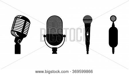 Four Microphones Retro Classic And Modern Set. Microphone Black Silhouette On White Background. Musi