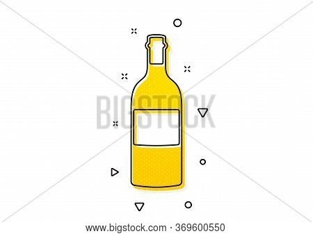 Merlot Or Cabernet Sauvignon Sign. Wine Bottle Icon. Yellow Circles Pattern. Classic Wine Bottle Ico