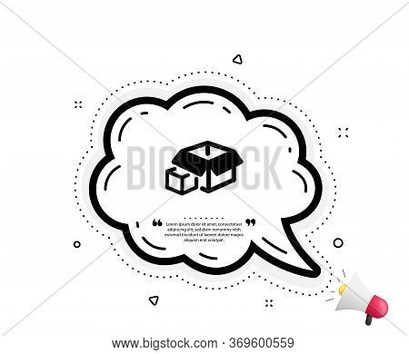 Box Icon. Quote Speech Bubble. Delivery Parcel Sign. Packing Boxes Symbol. Quotation Marks. Classic