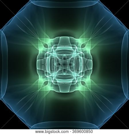 Abstract Color Background With Future Fractal Effects. Silky Lines And Strips Texture In A Symmetry