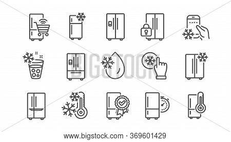Fridge Line Icons Set. Freezer Storage, Refrigerator, Smart Fridge Machine. Water With Ice, Cooler B