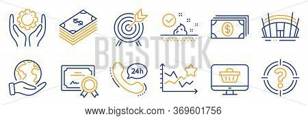 Set Of Business Icons, Such As Arena Stadium, Banking. Certificate, Save Planet. Skin Care, Archery,