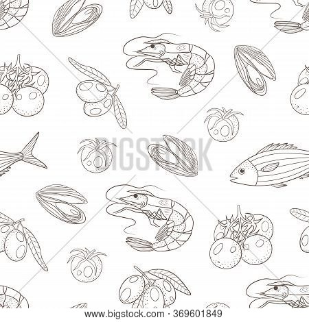 Vector Graphic Seamless Pattern With Sea Food, Tomatoes And Olives On A White Background