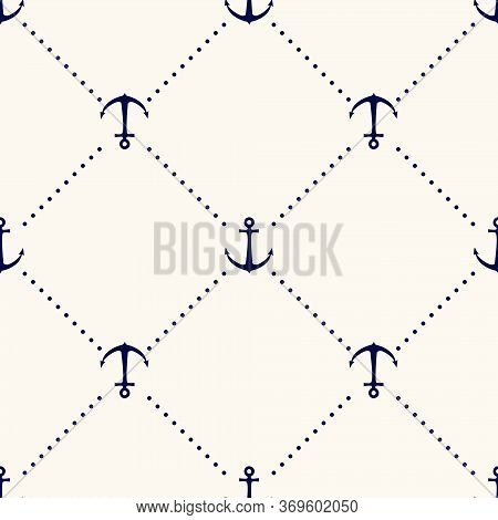 Vector Seamless Geometric Pattern With Anchors And Polka Dot. Nautical Background In Minimalistic St