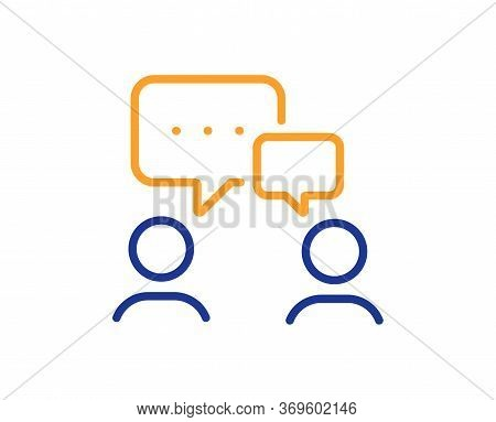 People Chatting Line Icon. Business Seminar Sign. Job Meeting Symbol. Colorful Thin Line Outline Con