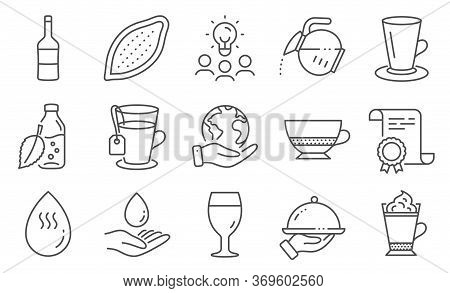 Set Of Food And Drink Icons, Such As Wine, Restaurant Food. Diploma, Ideas, Save Planet. Water Care,
