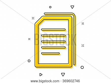 Copying Files Sign. Copy Documents Icon. Paper Page Concept Symbol. Yellow Circles Pattern. Classic