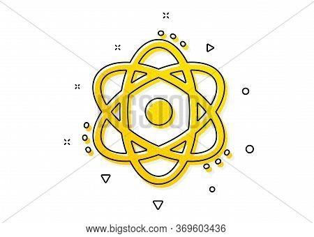 Energy Sign. Atom Icon. Chemical Element Symbol. Yellow Circles Pattern. Classic Atom Icon. Geometri