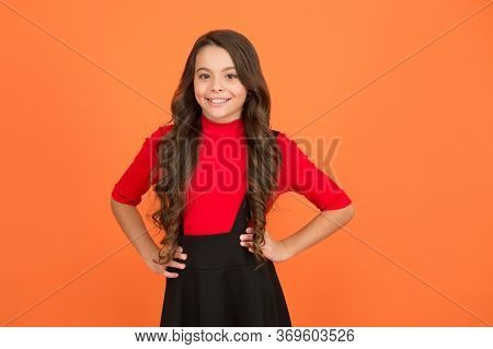 Feeling Lucky. Perfect Girl. Positive Emotions. Teen Girl Smiling Orange Background. Teen Child With