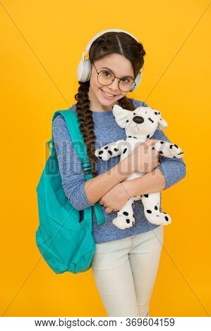 I Love My Friend. Happy Child Cuddle Soft Dog. Little Girl Smile With Toy Friend. Friend And Friends