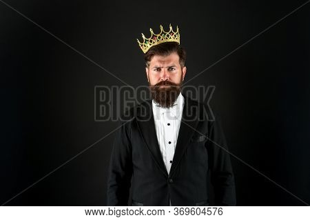 King Of Style. Bearded Man Wear Golden Crown. Elegant Man In Formal Wear At Special Event. Party Kin