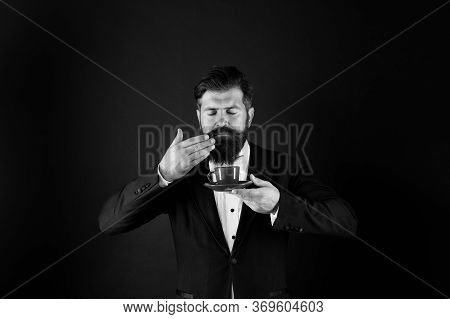 Enjoy Its Unique Flavor Notes. Hipster Enjoy Coffee Aroma. Bearded Man Sniff Aromatic Drink. Pleasan