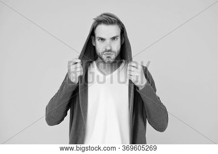 Feeling Comfortable. Young Man Style Yellow Background. Handsome Guy In Casual Style. Young Model We