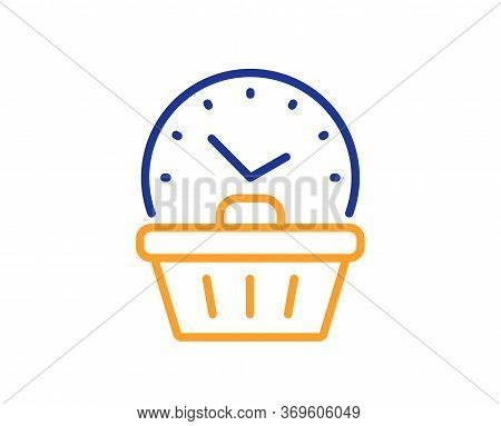 Last Minute Sale Line Icon. Shopping Opening Hours Sign. Supermarket Time Symbol. Colorful Thin Line