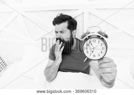 Dont Want To Wake Up. Bearded Man Clock Ticking. Sleep Longer. Man Hipster Want To Sleep. Male On Be
