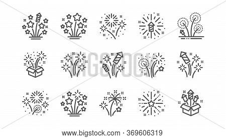 Firework Salute Line Icons Set. Christmas Explosive Pyrotechnic, Carnival Celebration And Festival L