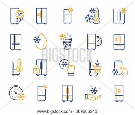 Fridge Line Icons. Refrigerator, Freezer Storage, Smart Fridge Machine. Water With Ice, Cooler Box,