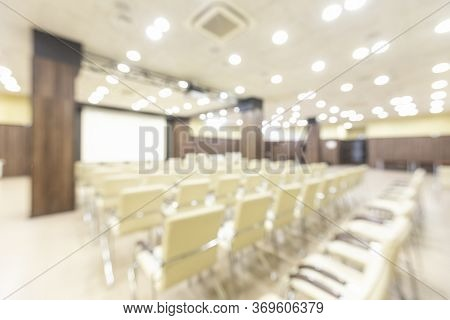 Blurred Photo Of Empty Interior Of Large Modern Conference Holl