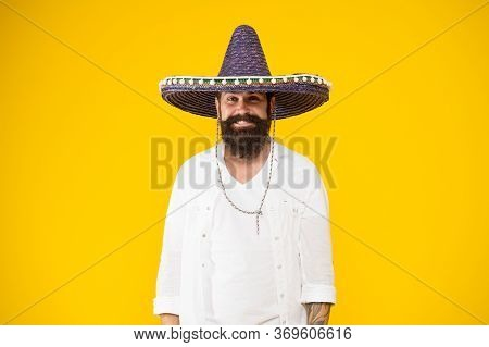 National Holidays. Summer Festival. Mexican Hat Sombrero. Guy Happy Festive Outfit. Spanish Costume.