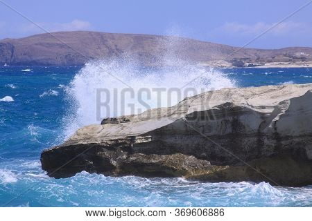 Breaking Wave At Sarakiniko Beach, Milos Island, Cyclades, Greece. Milos Is One Of The Southern Cycl