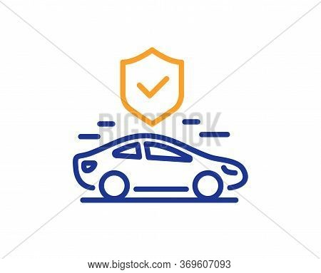 Transport Insurance Line Icon. Car Risk Coverage Sign. Vehicle Protection Symbol. Colorful Thin Line