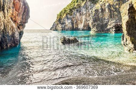 Arcomagno Beach On The Coast Of The Cedars, Tyrrhenian Sea, South Of Italy