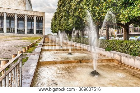 Scenic Fountain, Iconic Neoclassical Architecture In The Eur District, Rome, Italy
