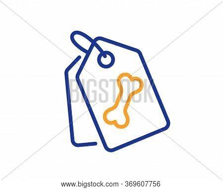 Pet Tags Line Icon. Dog Bone Sign. Pets Food Symbol. Colorful Thin Line Outline Concept. Linear Styl