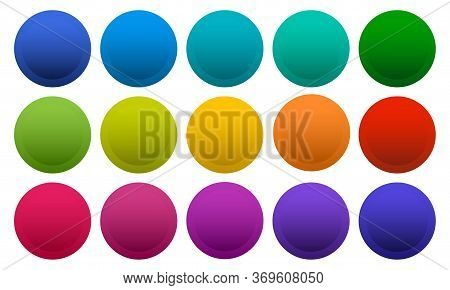 Colorful Round Buttons Isolated On White Background, Rainbow Colors. Vector Illustration