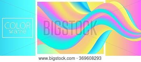 Fluid Poster. 3d Wave. Liquid Color. Fluid Background. Color Design. Abstract Flow. Vibrant Color. 3